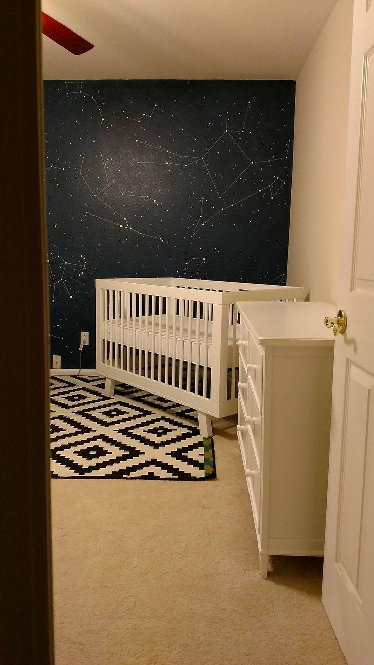 Kinderzimmerwand Mit Der Galaxie An Der Wand. Sternenhimmel An Die Wand  Malen Oder Tapezieren. #sternenhimmel #wandgestaltung