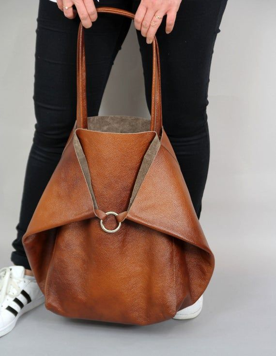 Bolso TOTE DE GRAN TAMAÑO, bolso holgado marrón, bolso marrón para mujer, bolso de cuero suave, bolso de uso diario, bolso de cuero para mujer