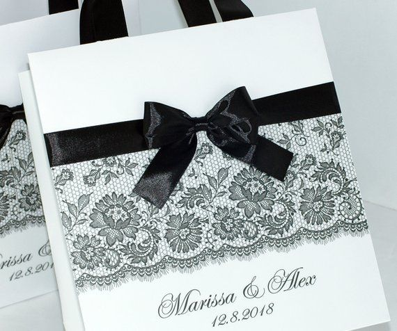 Destination Wedding Etiquette Gifts: Elegant Wedding Welcome Bags With Satin Ribbon Handles