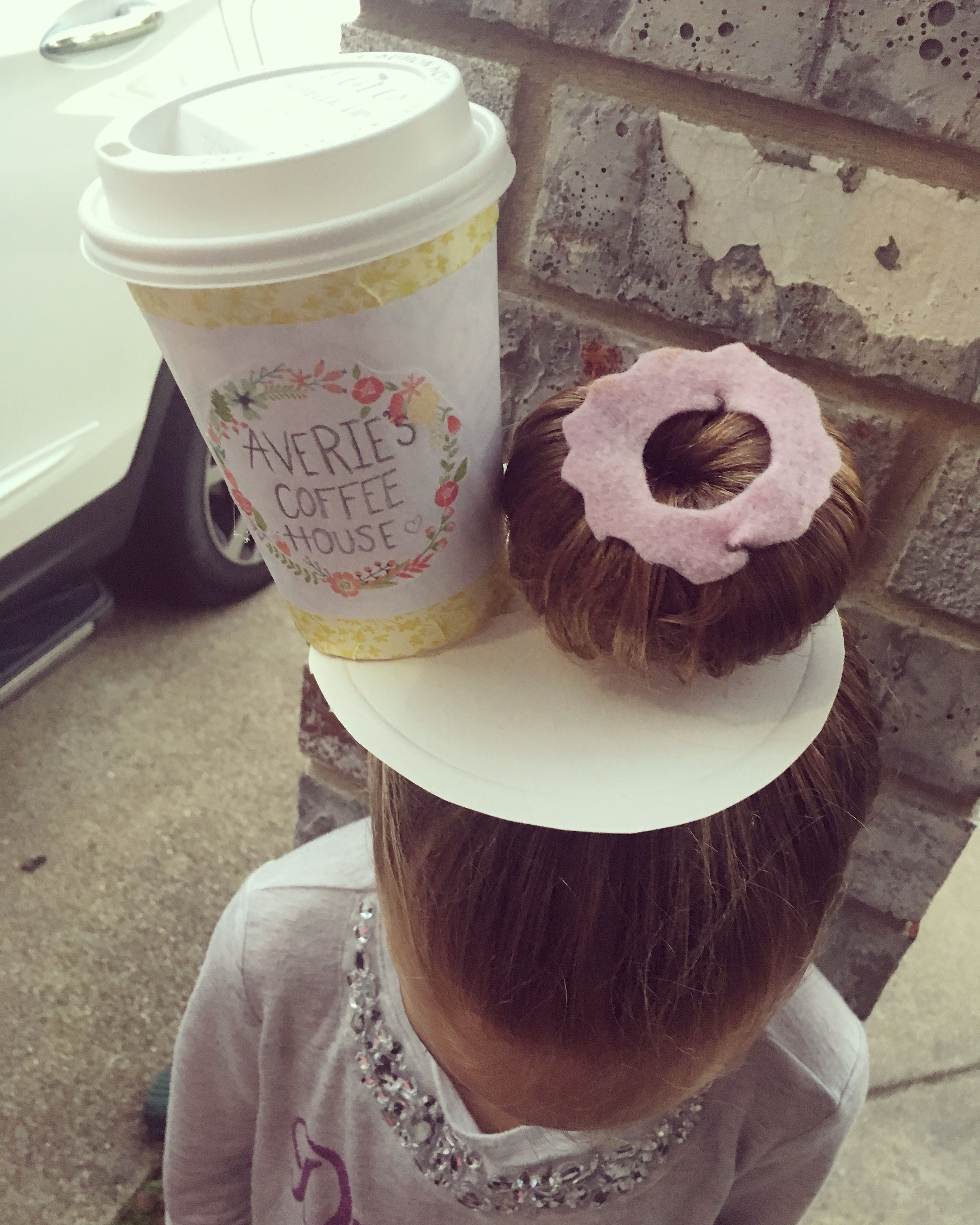 Donut and Coffee hair for crazy hair day at school