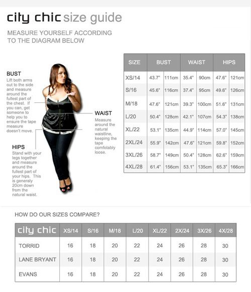 City Chic Size Chart  Plus Size Fashion    City Chic