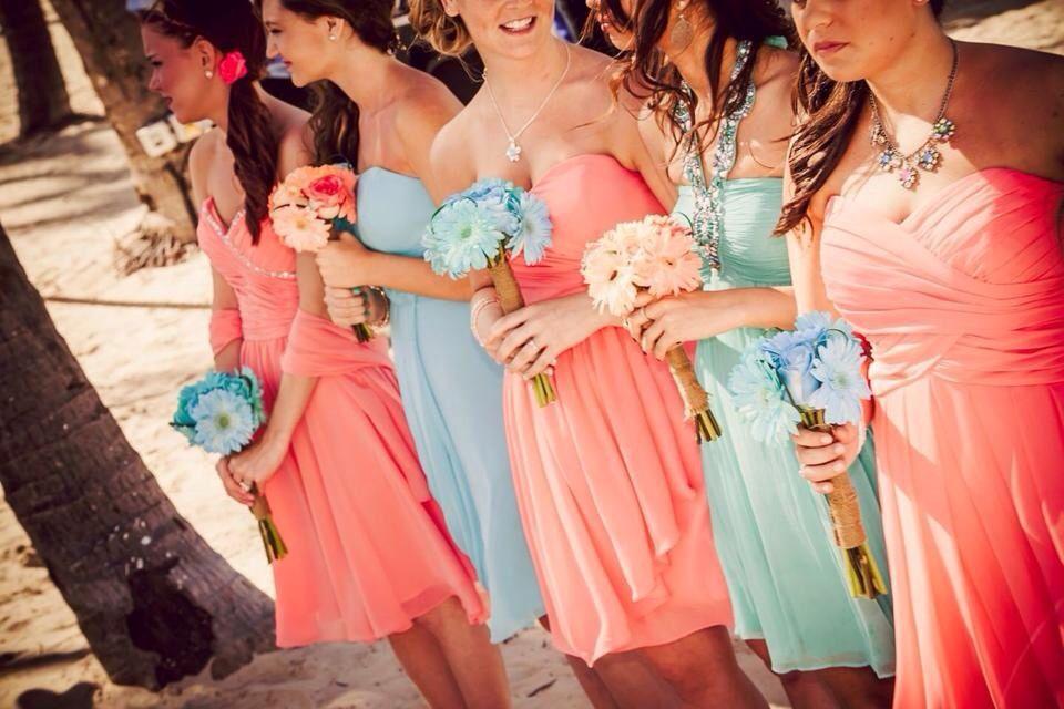 Coral And Tiffany Blue Wedding  Bridemaids  Tiffany -2525