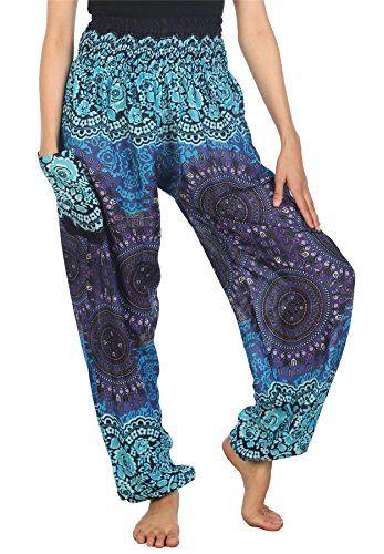Lofbaz Womens Floral Boho Genie Aladdin Smocked Waist Harem Pants