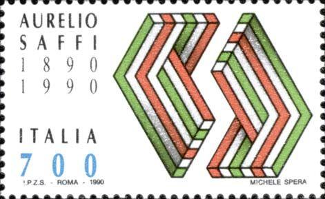 1990 - Centenario della morte di Aurelio Saffi (1819-1890) - patriota  risorgimentale dell'ala repubblicana radicale - composizione simbolica tricolore