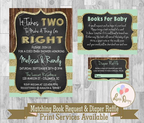 Coed Baby Shower Invitation It Takes Two Joint