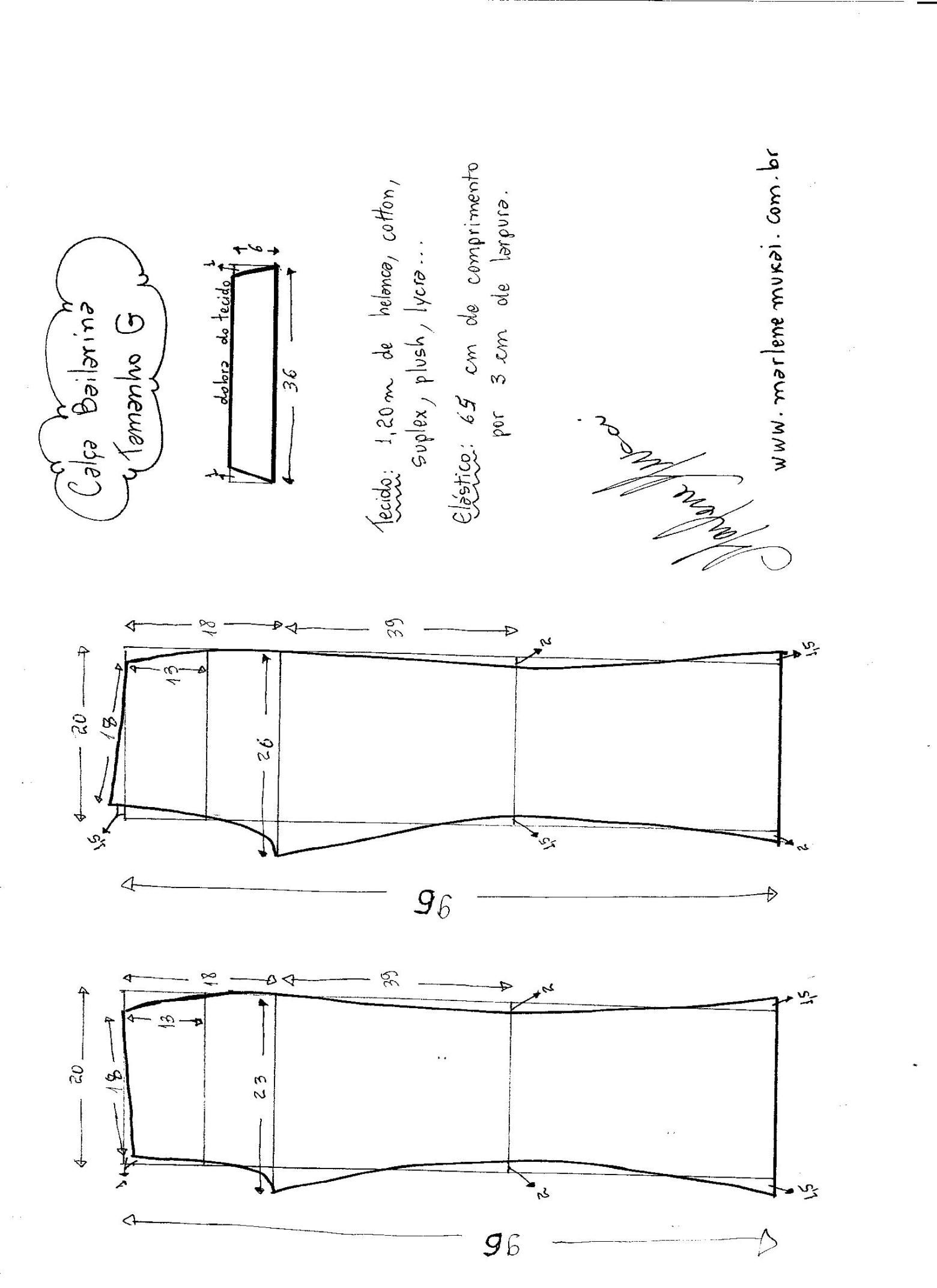 Calça Bailarina de Cós Largo | trazado de patrones de Xioma ...