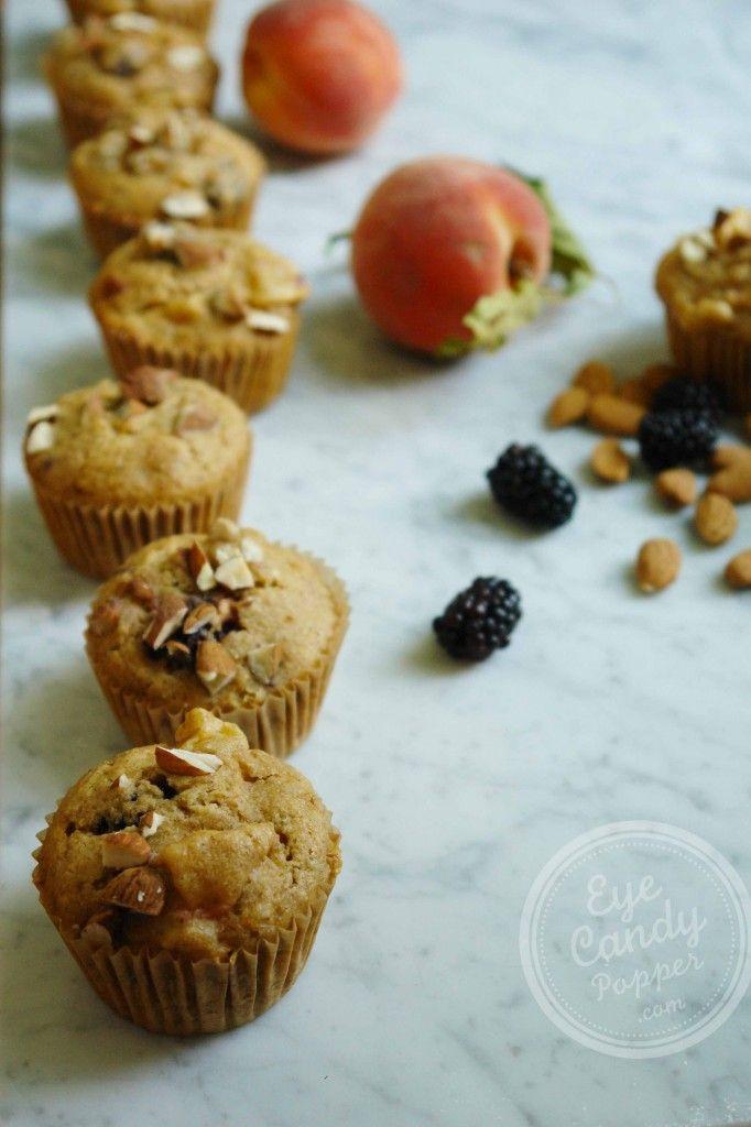 Peach Blackberry muffins (dairy-free, low-gluten with gluten-free option)