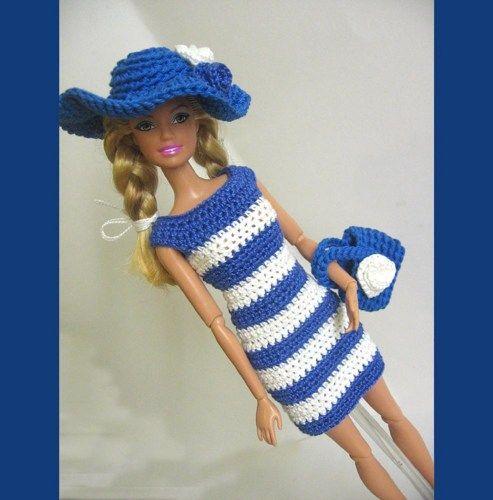 Handmade crocheted dress hat bag blue and white stripes #RDB