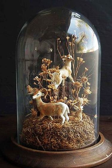 Gl Cloche With Wooden Base Features Dried Flowers And Ceramic Deer In An Adorable Terrarium Display