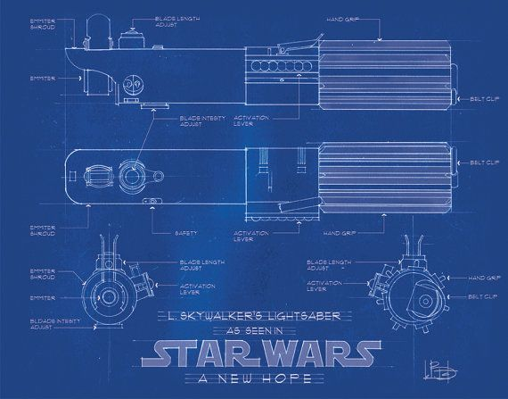Star Wars Poster Blueprint - Luke Skywalker A New Hope Hand Drafted - new no blueprint meaning