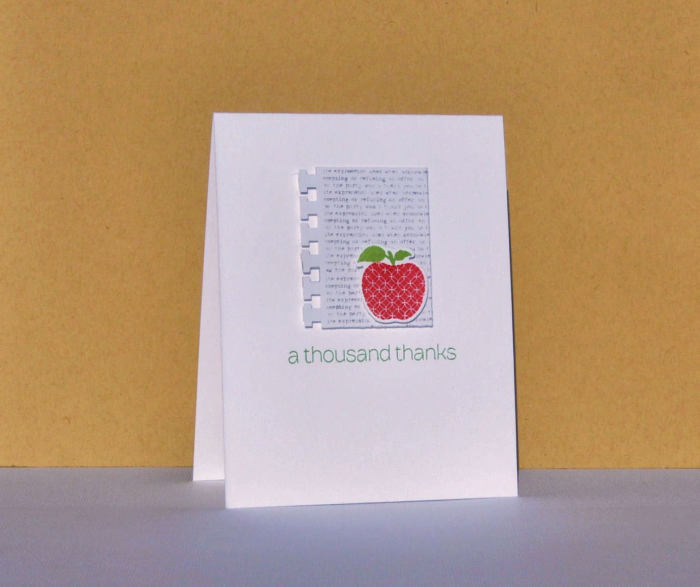 Thank You Teacher Card Hand Stamped Thank You Greeting Card