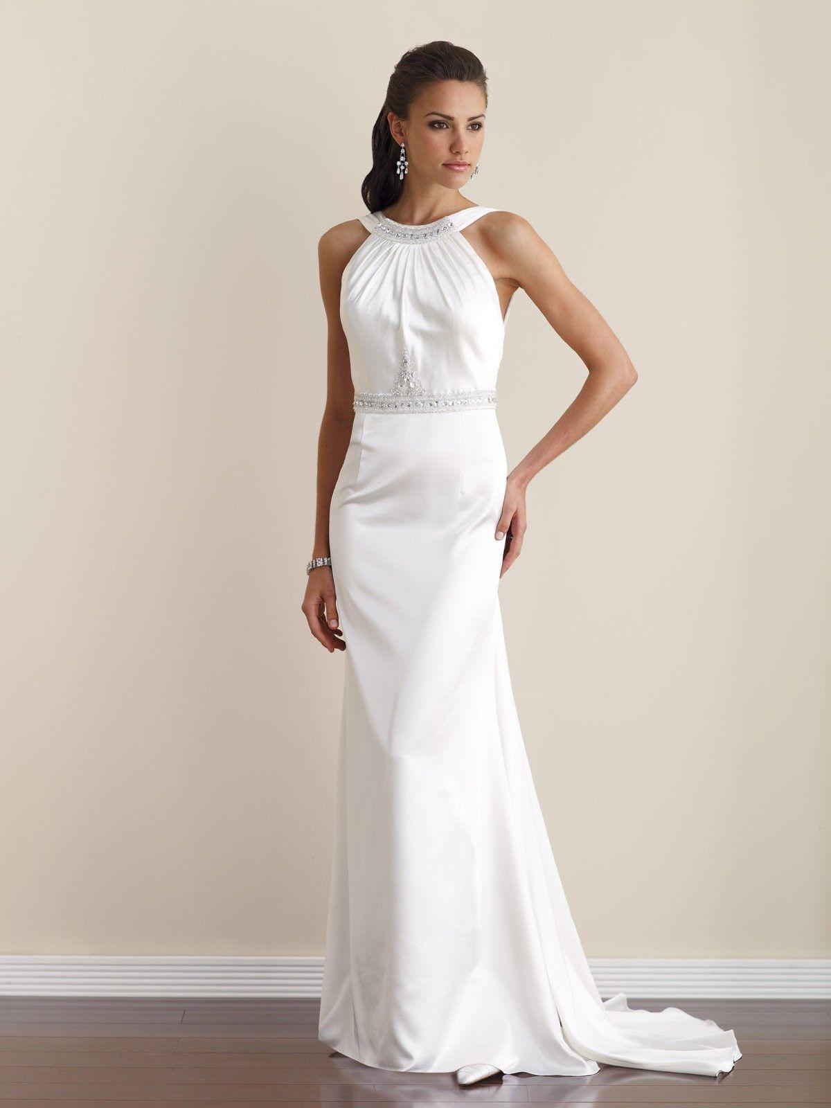Elegant high neck beaded sheath informal simple wedding dress w