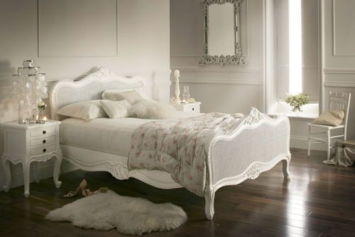 Vintage Shabby Chic Provence Rattan Antique White Double Bed Frame Only Ebay White Wooden Bed Luxurious Bedrooms White Double Bed Frame