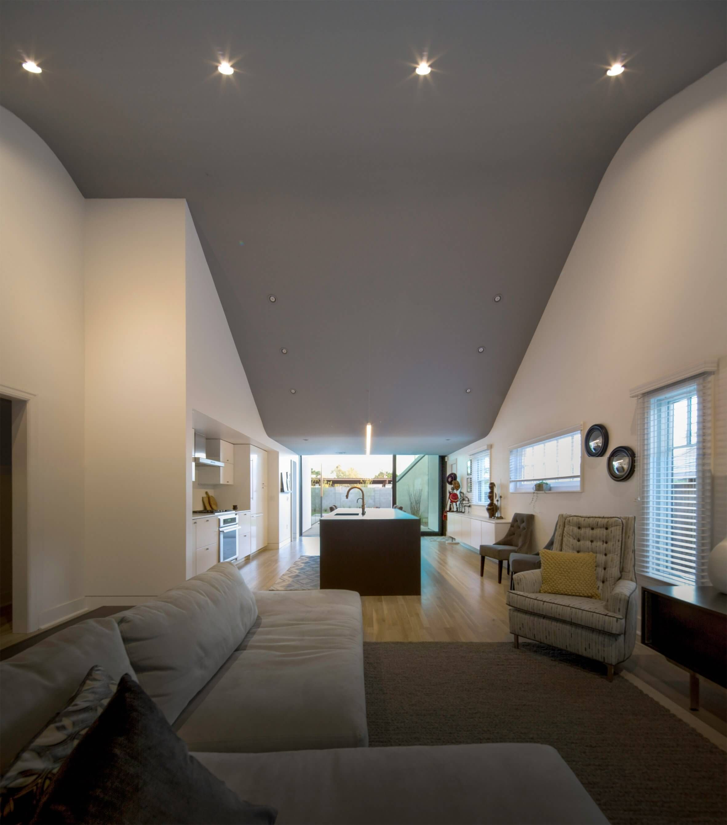 Modern home addition extends out in two open rooms http freshome com with also freshom