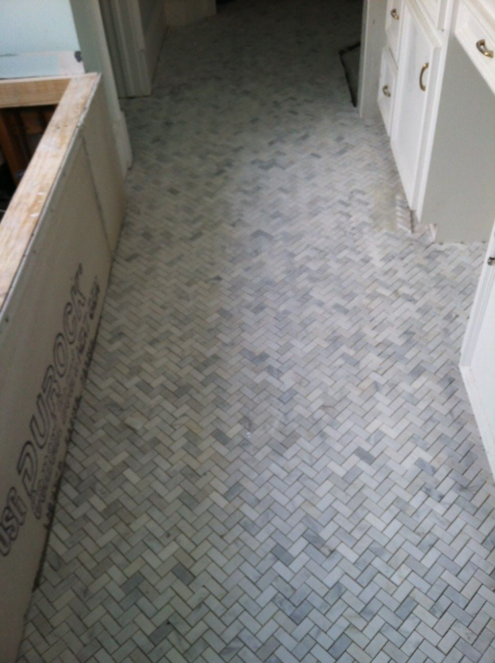 Featuring Life With A Dash Of Whimsy Herringbone Marble Floor Tile Bathroom Updating House