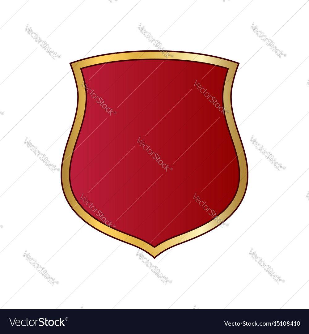 Shield Gold Red Icon Shape Emblem Vector Image On Vectorstock Emblems Red Shield Emblem Logo