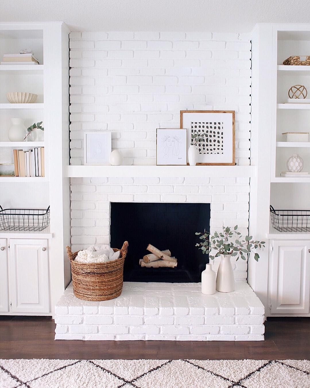 Halfway Wholeistic By Katie Staples Painted White Brick Fireplace Liked Homescapes Farm House Living Room Modern Farmhouse Living Room Home Living Room