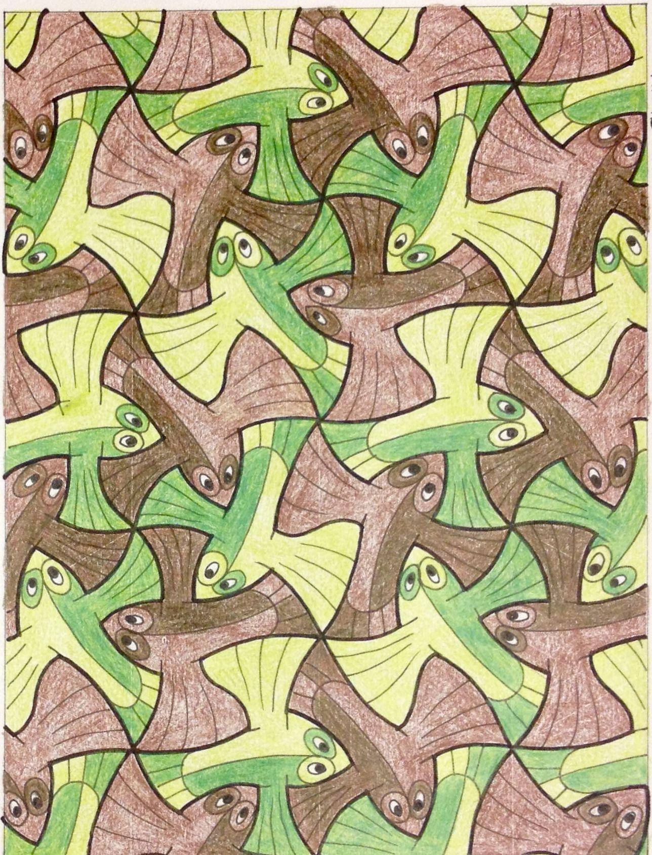 Escher Tessellation Tiling Mc Escher Geometry Symmetry My Interpretation Of Mc Escher Symmetry Nr 99 Mc Escher Escher Art Art
