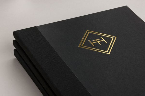 Menu with gold foil and embossed cover detail for brasserie The Honours designed by Touch. #Branding #Design #Print