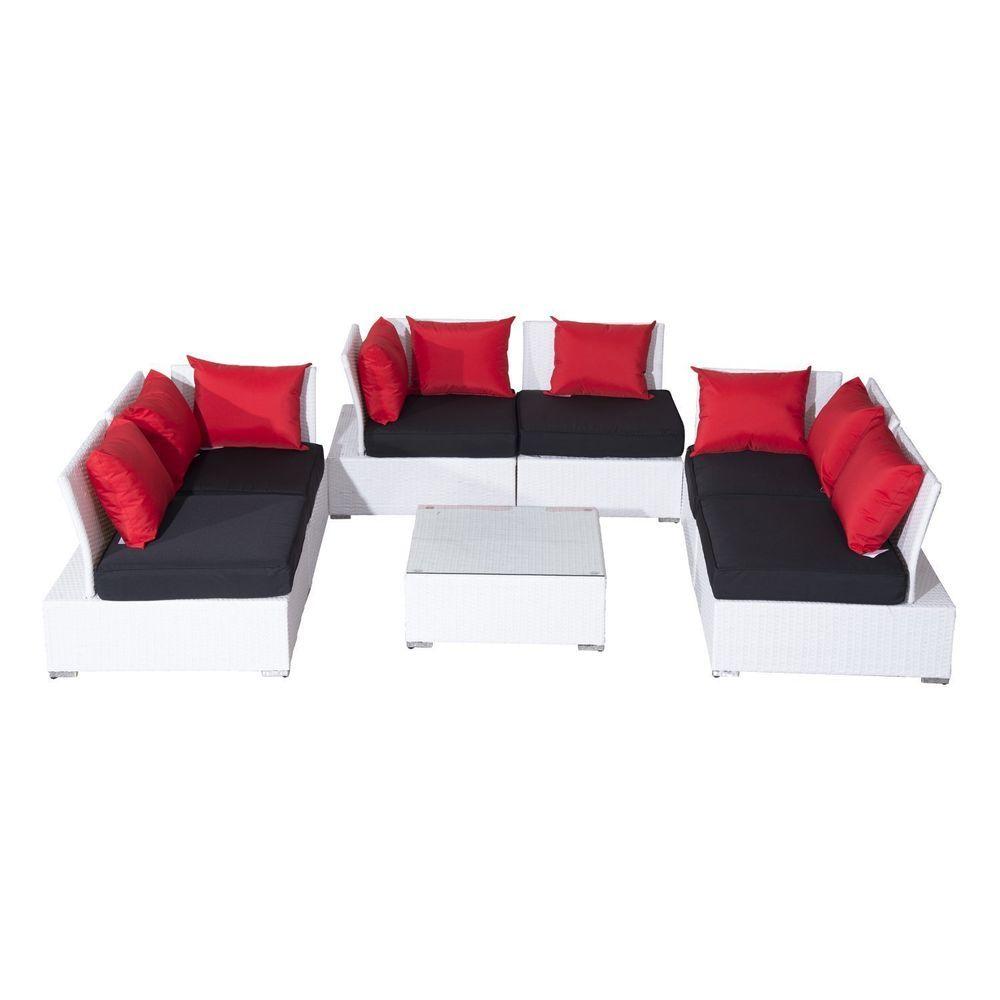 Patio Modular Sofa Set Corner Lounge Garden Rattan Furniture Table Cushions  Seat
