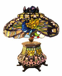"Elegant Red 22""H Peacock Tiffany Style Glass Table Lamp Light Lighting New   eBay"