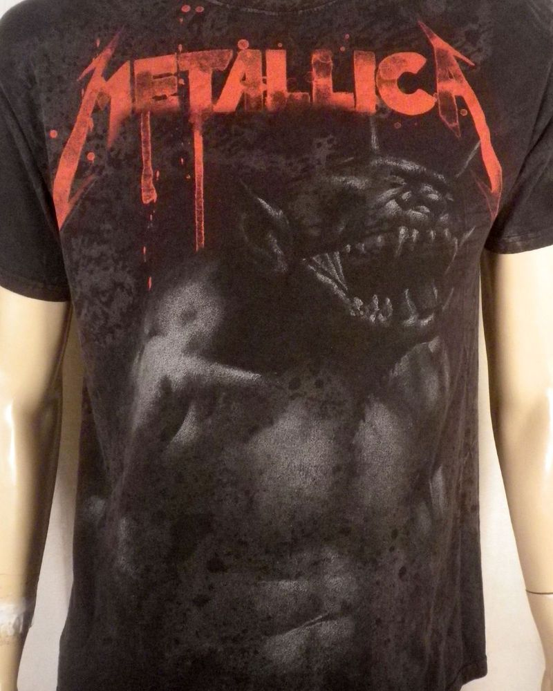 832652ff7 vtg Metallica All Over Print Jump in the Fire T-Shirt metal not concert  tour L