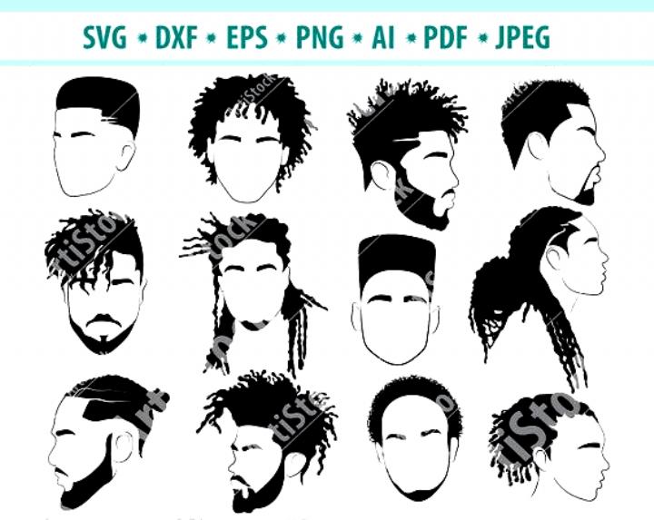 Afro Hairstyles Svg Black Man Bundle Svg Hair Dreadlocks Svg Afro Man Hairstyle Men Svg Afro S 80s Hair Afro Hair Drawing How To Draw Hair Afro Men