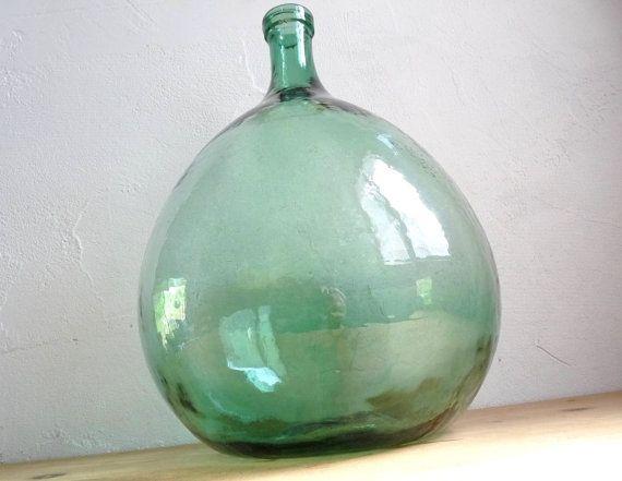 vintage large demi john dame jeanne clear green glass wine bottle contains 105 liter - Large Glass Jars