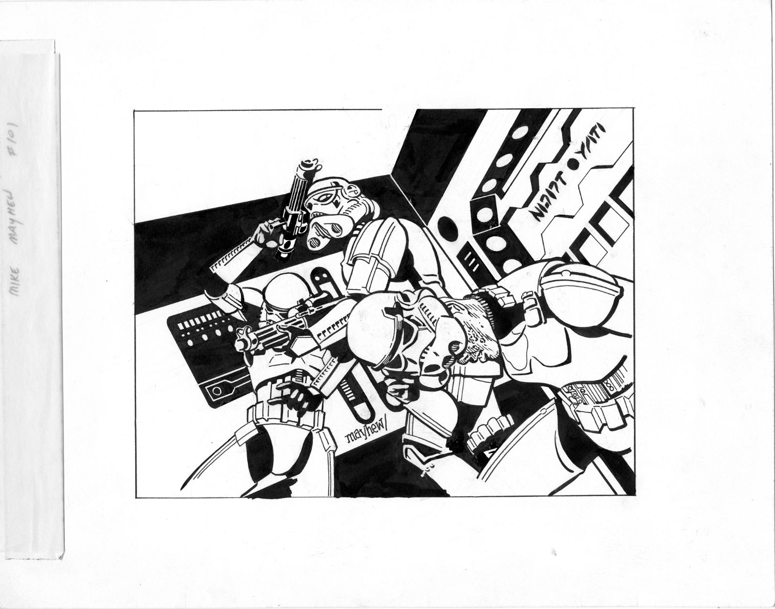 Orignal STAR WARS GALAXY Series 2 #248 B&W Card Art - W.B.