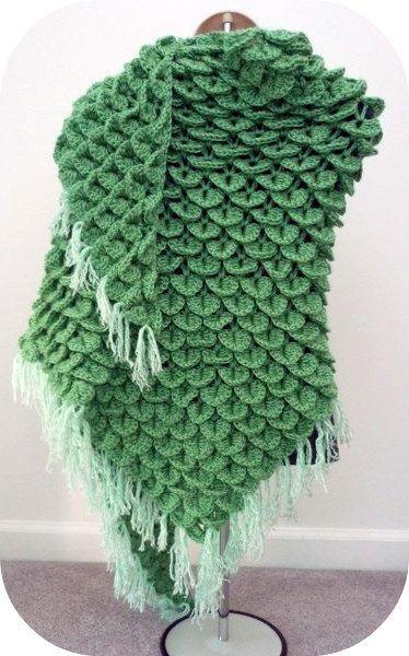 crochet crocodile stitch shawl scale | Crocodile stitch | Pinterest ...