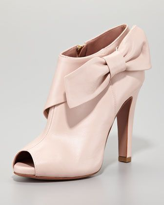 Leather Bow Peep-Toe Bootie, Petal Pink by RED Valentino at Neiman Marcus.  #boots