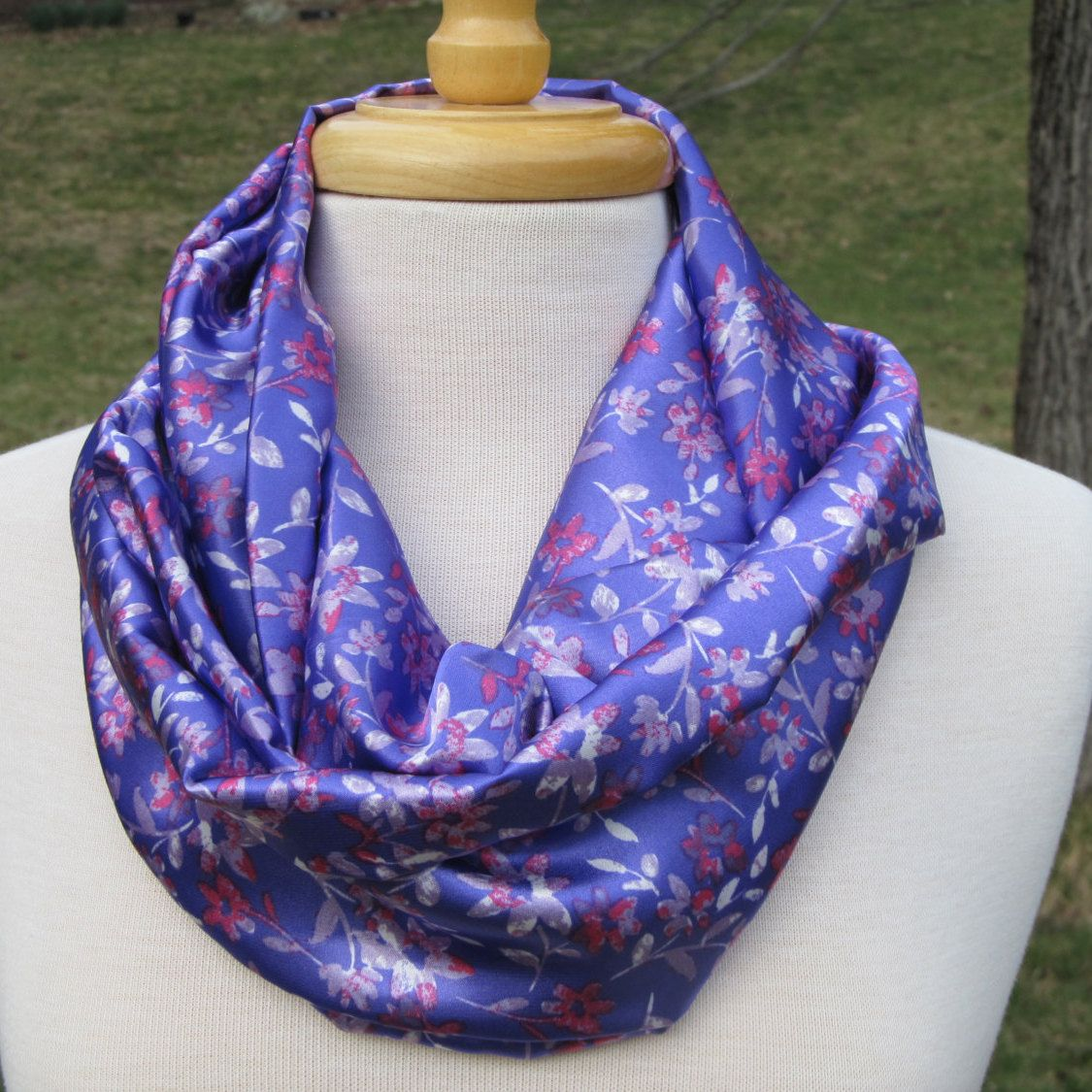 Purple, pink, and gray Infinity Scarf, Silky fabric loop scarf, pink and gray on purple floral print circle scarf, silky floral print scarf by sewnansidesigns on Etsy