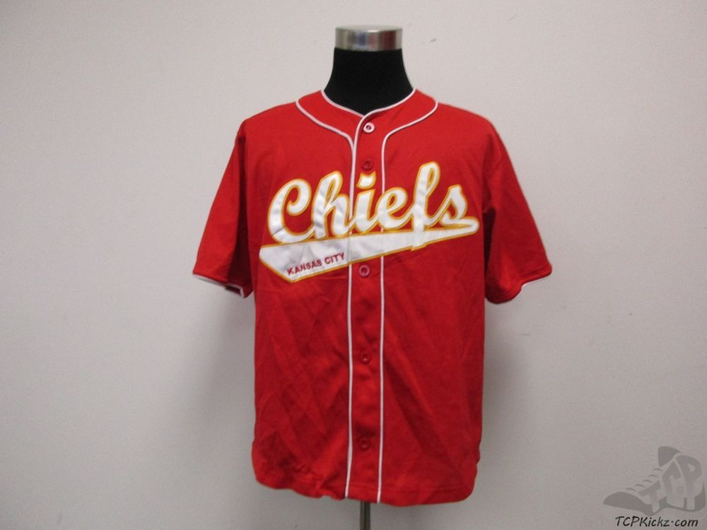 32b55050506 NFL Kansas City Chiefs SEWN Johnson  27 Button Up Baseball Jersey sz L  Football  NFL  KansasCityChiefs