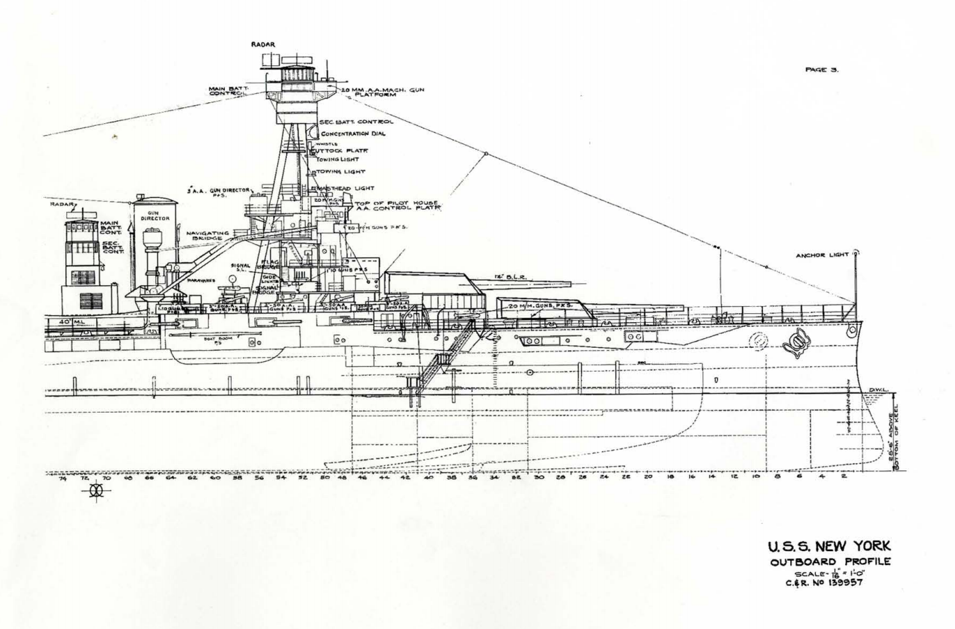 uss new york bb34 outboard profile plans drawings blueprints  http://maritime org