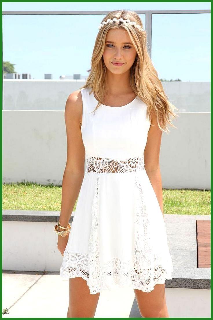 weißes kleid mit niedlicher spitze für den sommer - #den