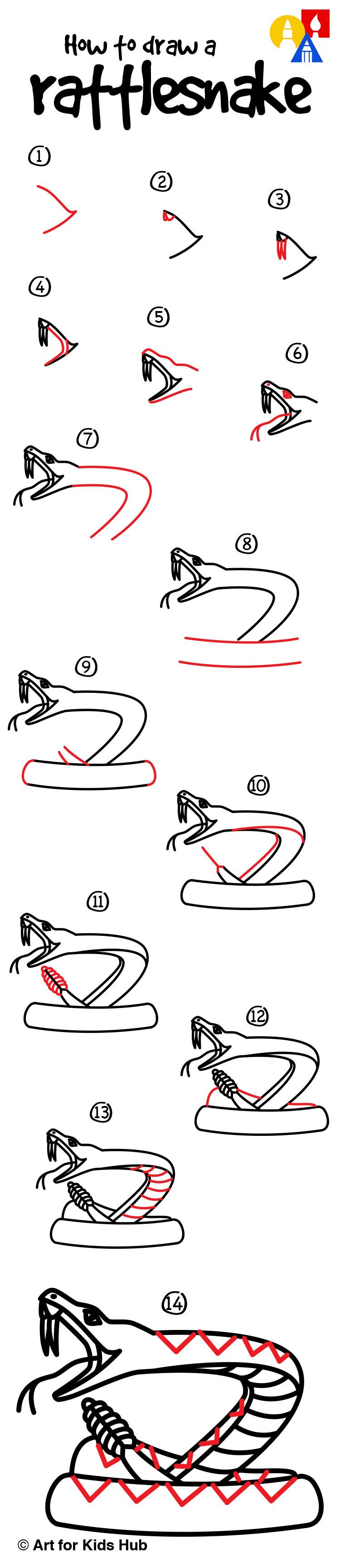 How To Draw A Rattlesnake Art For Kids Hub Art For Kids Hub Art For Kids Draw