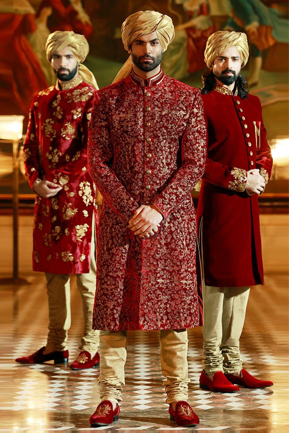 Samyakk Red And Golden Silk Embroidered Achkan Sherwani | Men's