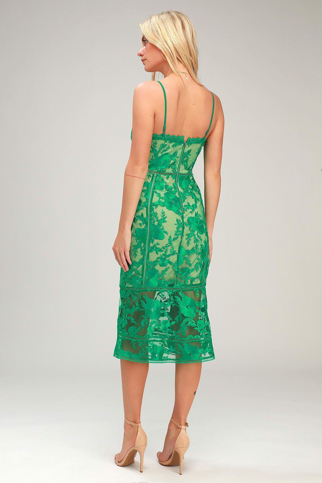 Deeply cherished green lace midi dress green lace midi