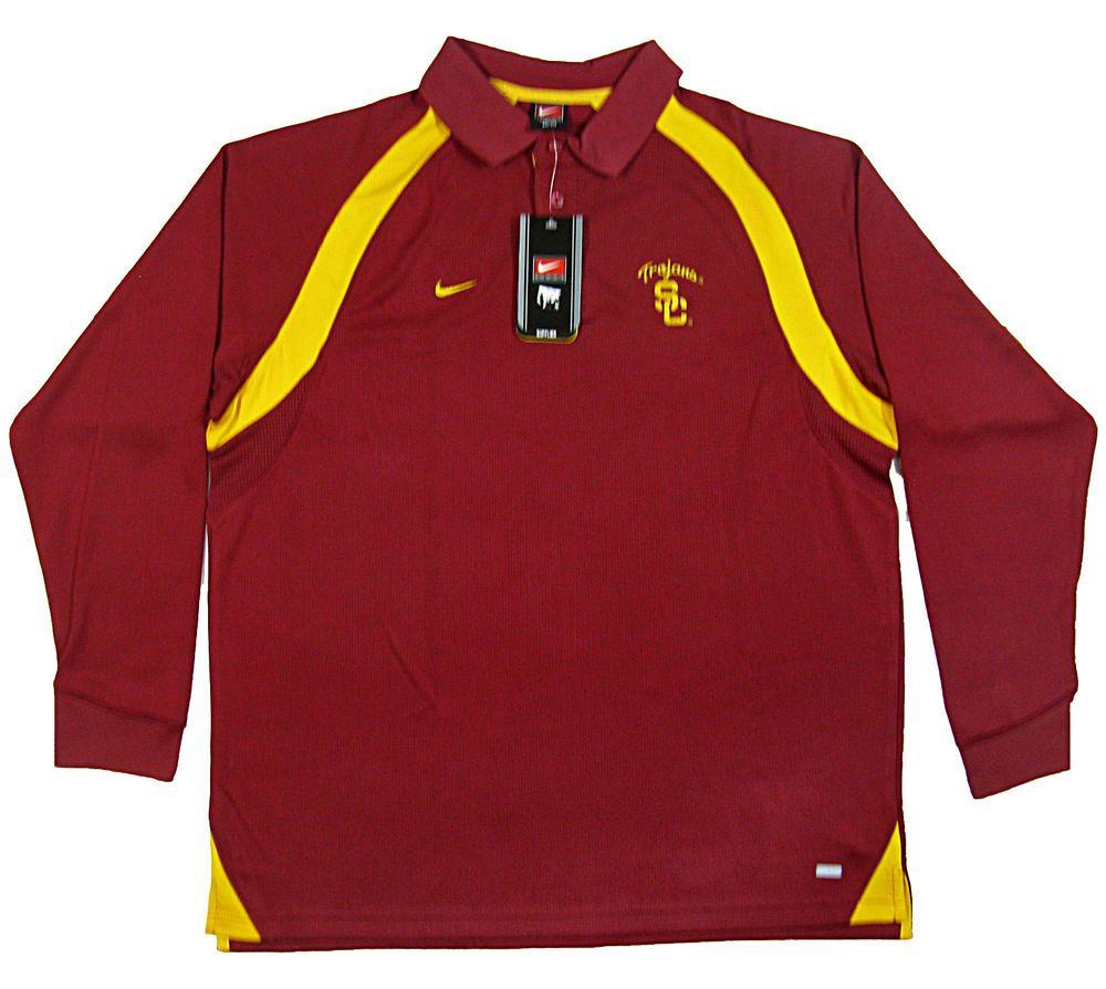 fe3355a1 USC Trojans NIKE Team XL Dri Fit Long Sleeve Polo Shirt NEW w/Tags Old Stock  #NikeTeam #USCTrojans