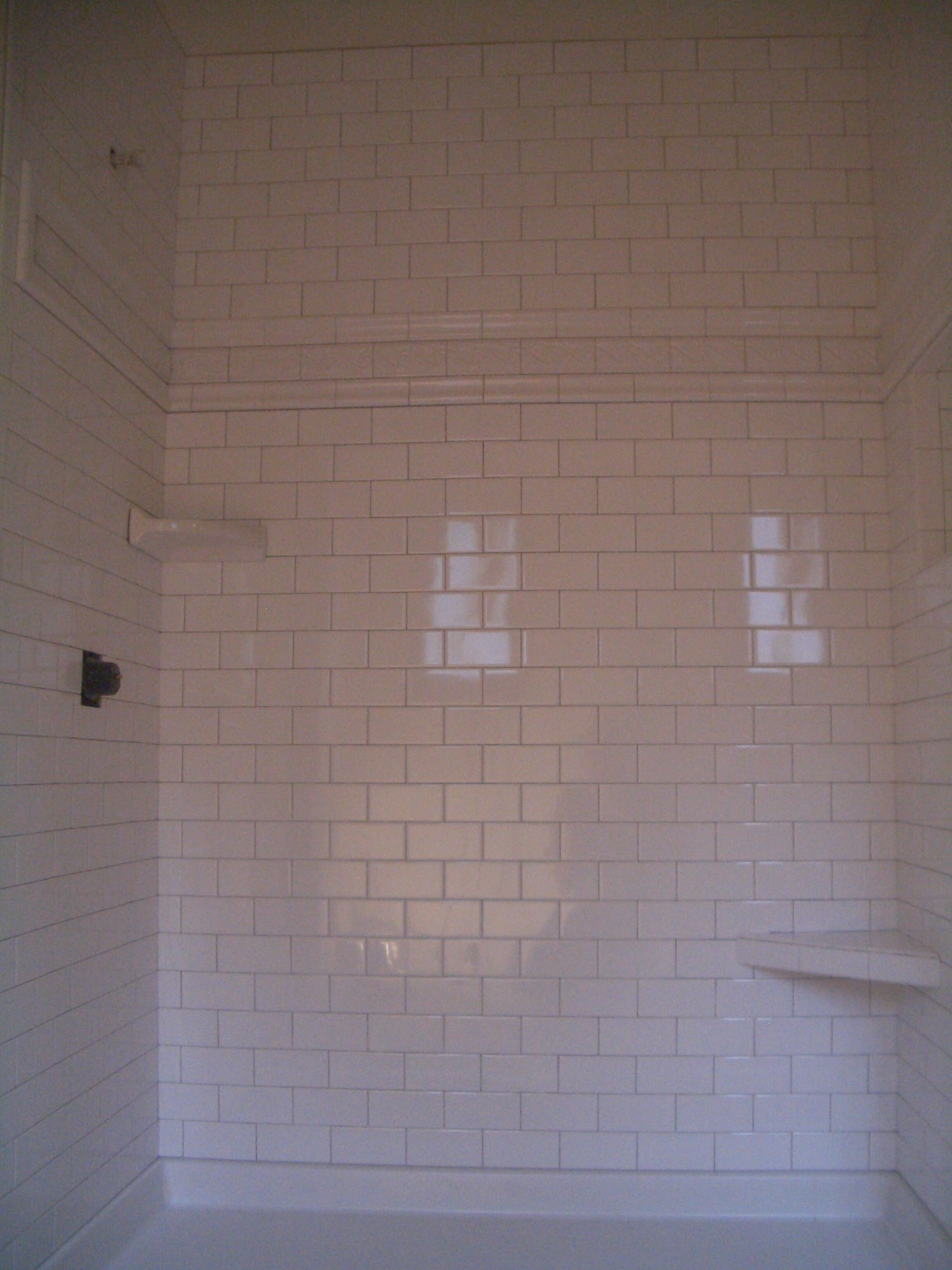 Tiled Shower Recently Finished A Shower With 3 X 6 Inch Ceramic Subway Tiles I Showers