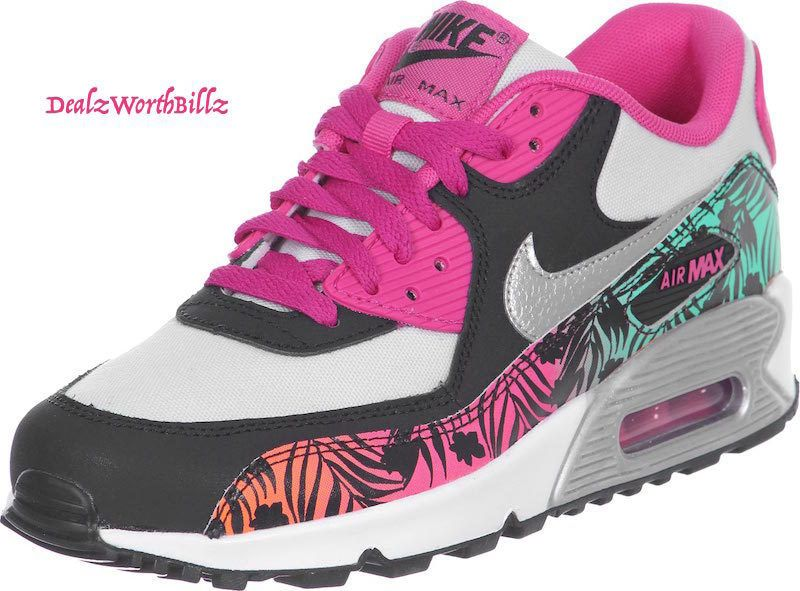 kid shoes NIKE AIR MAX 90 PRINT SLIVER BLK HOT PINK GS