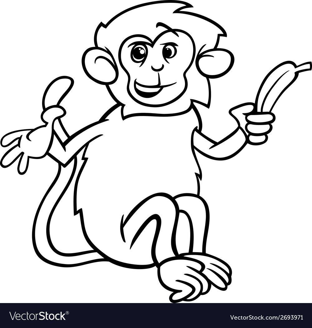 Coloring Book For Children Monkey With A Banana Aff Book Coloring Children Banana Monk Animal Coloring Books Coloring Books Animal Coloring Pages