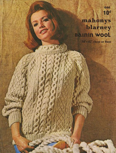 Vintage Mahonys Aran Knitting Pattern Ladies Jumper 1960s Cables