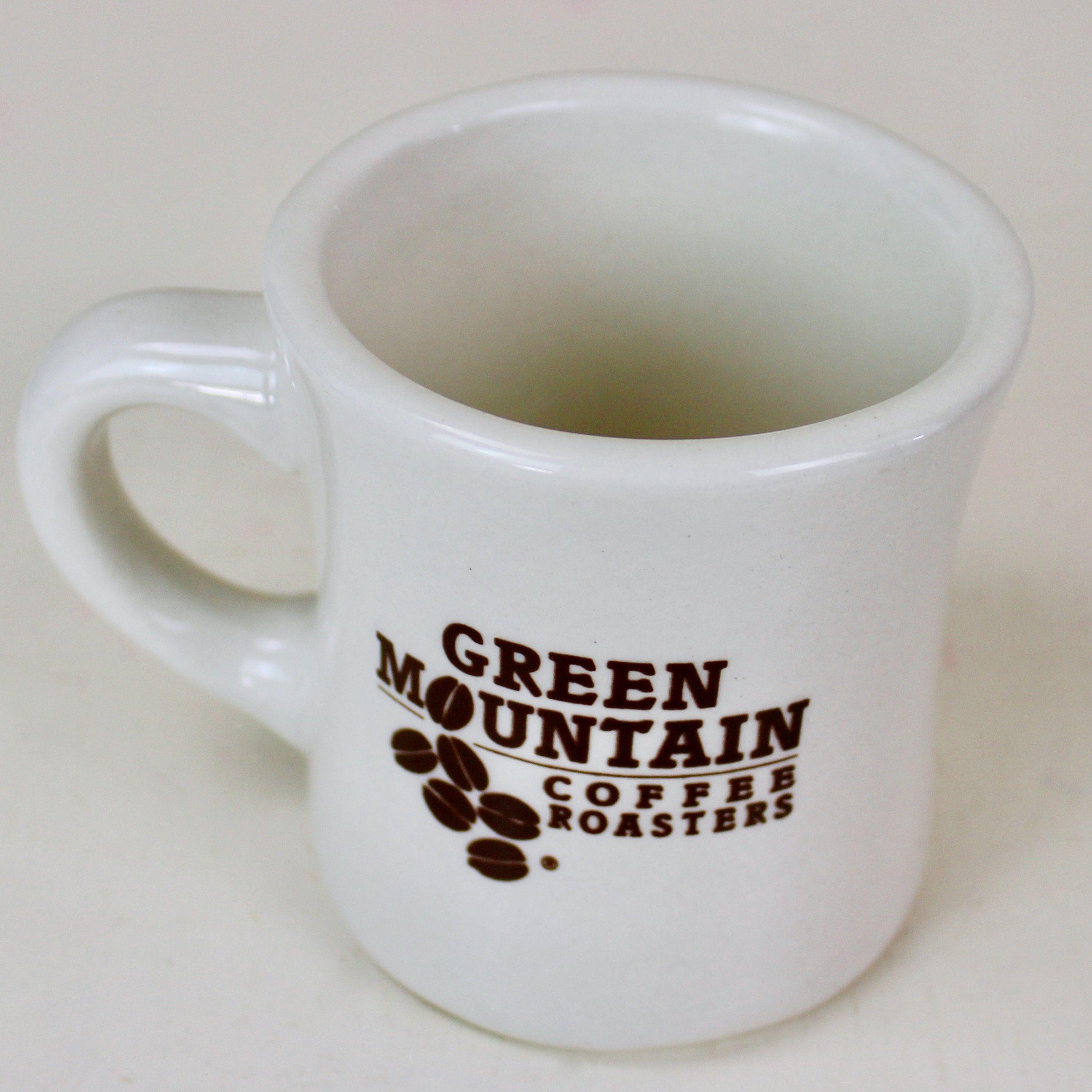 Green Mountain Coffee Roasters Mug Heavy White Stoneware Restaurant Ware Tea Cup Vermont 10 Oz Mugs Tea Cups