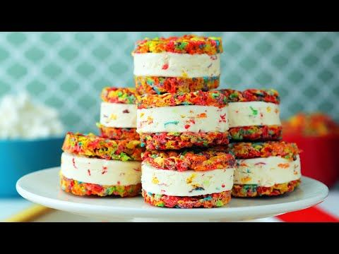 Rainbow Ice Cream Sandwich // Presented By BuzzFeed & Pebbles Cereal #icecreamsandwich