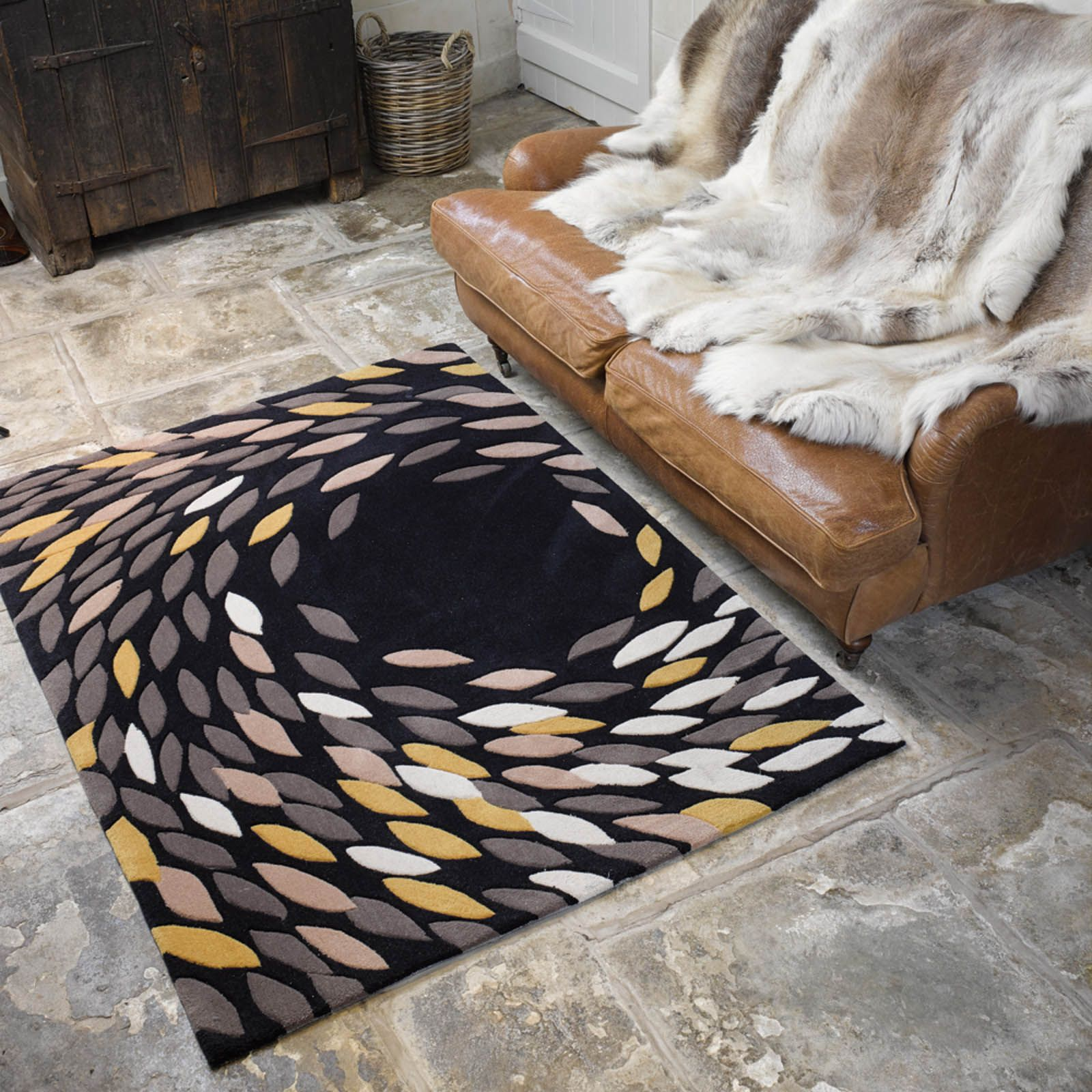 The Carnival Swirl Rug Features A Black With Circular Of Red Cream And