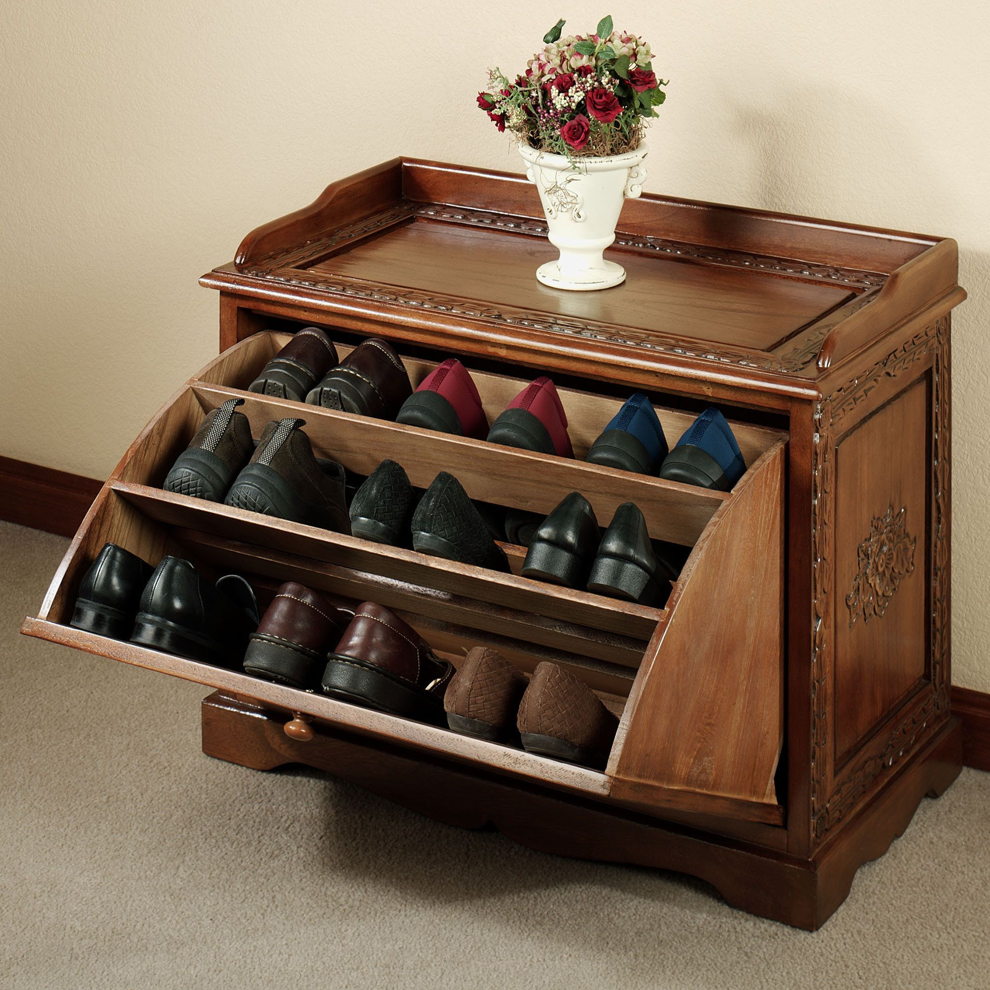 Love the way it stands out from the normal shoe rack  Additionally  the  design. Victoriana Wooden Shoe Storage Bench   Shoe storage benches  Shoe