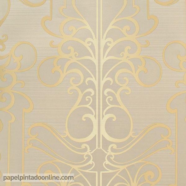 Papel pintado paris rs71408 con fondo beige y estampado en for Papel pintado dorado