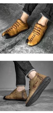 men's casual shoe black yellow khaki  mens boots