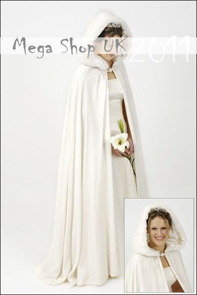 f1253e1ba50f5 IVORY Cape Faux Fur Hood SATIN Cloak Bridal Jacket UK